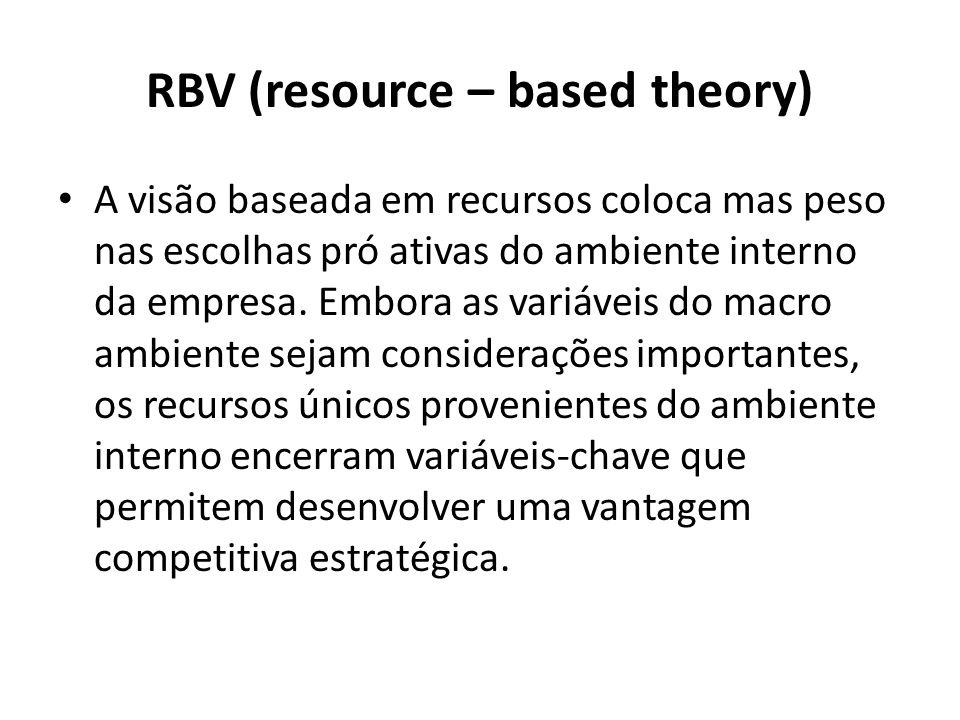 RBV (resource – based theory)