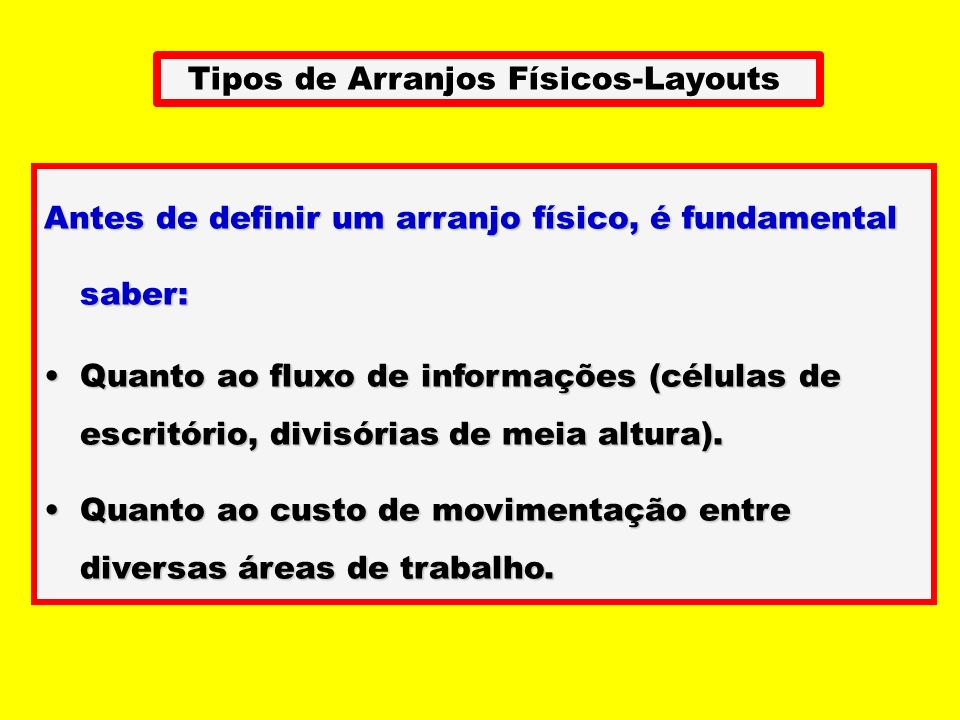 Tipos de Arranjos Físicos-Layouts