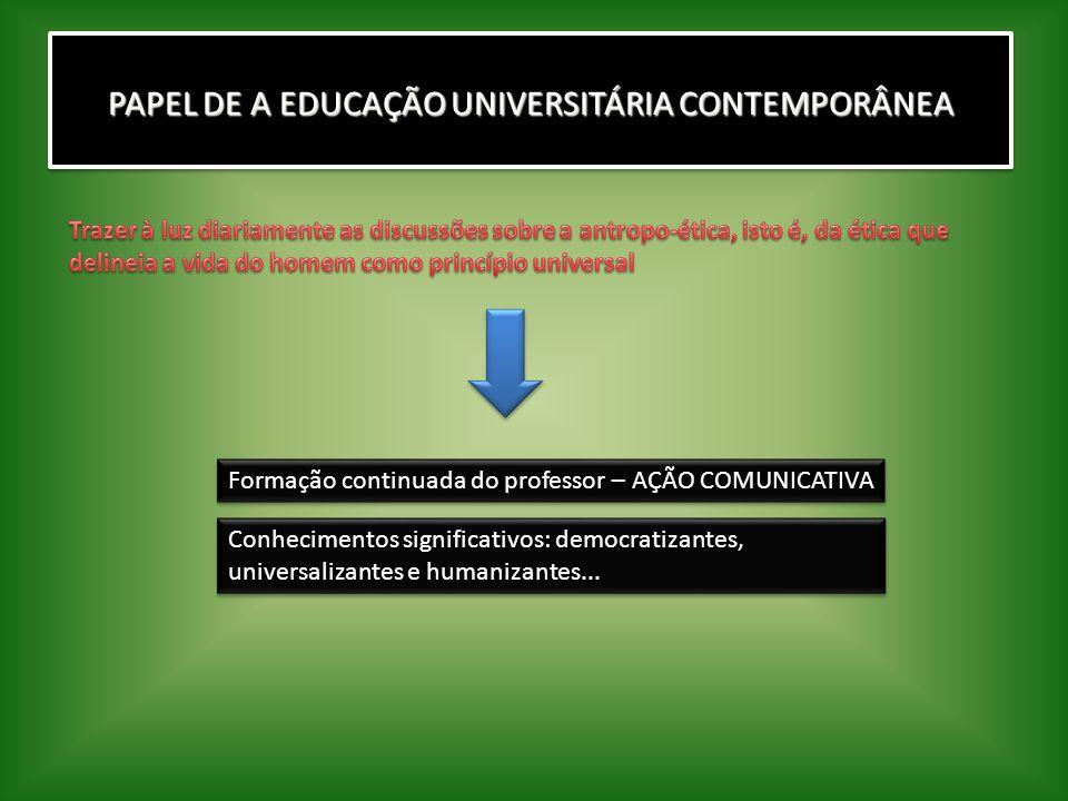 PAPEL DE A EDUCAÇÃO UNIVERSITÁRIA CONTEMPORÂNEA