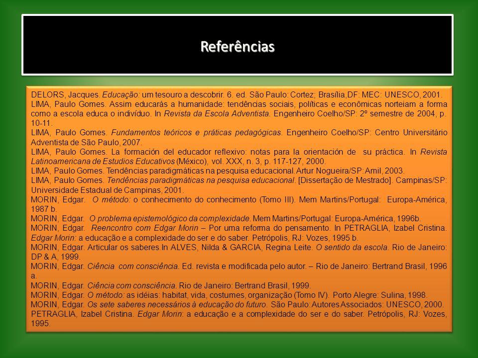 Referências DELORS, Jacques. Educação: um tesouro a descobrir. 6. ed. São Paulo: Cortez; Brasília,DF: MEC: UNESCO, 2001.