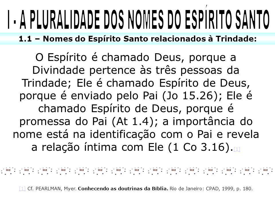 I - A PLURALIDADE DOS NOMES DO ESPÍRITO SANTO