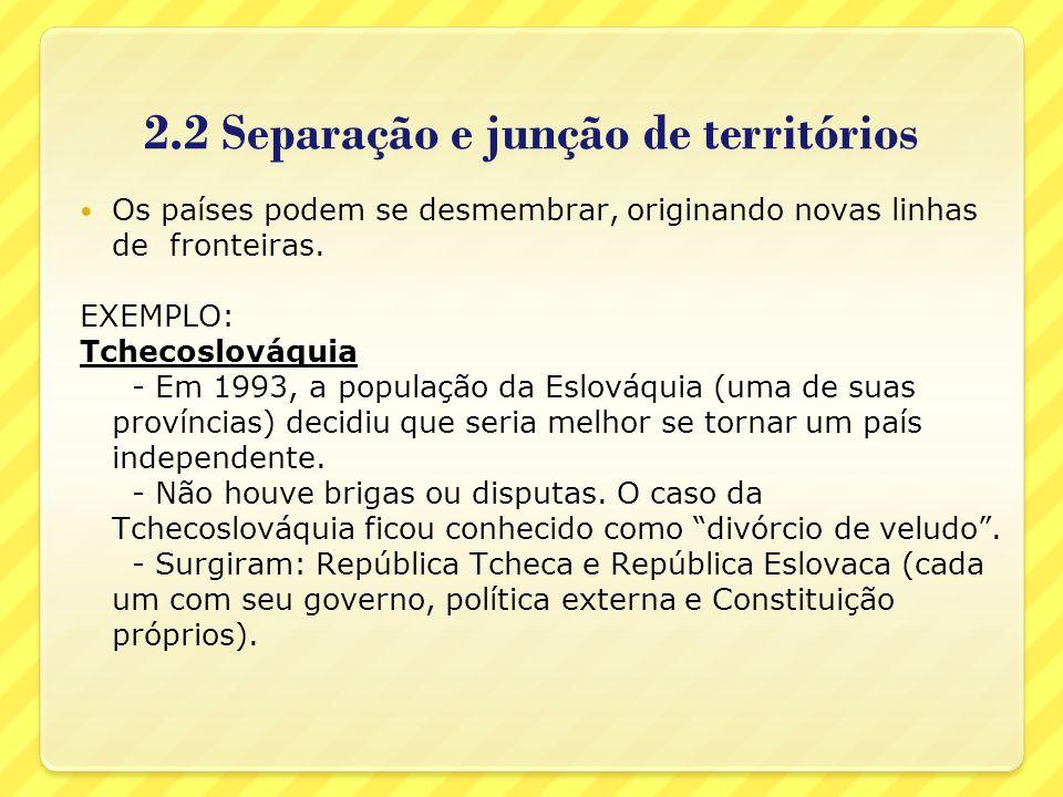 2.2 Separação e junção de territórios