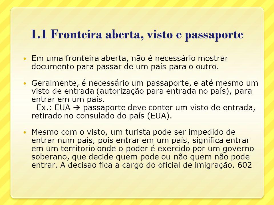 1.1 Fronteira aberta, visto e passaporte