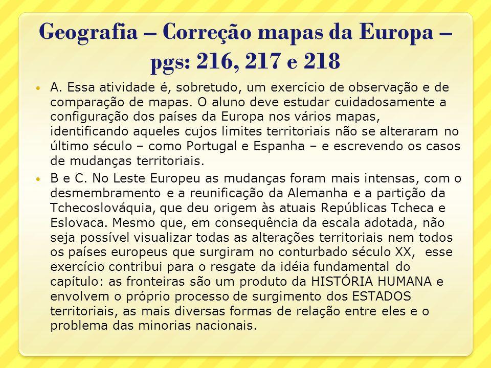 Geografia – Correção mapas da Europa – pgs: 216, 217 e 218