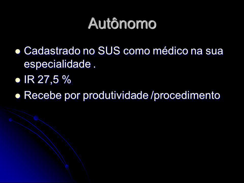 Autônomo Cadastrado no SUS como médico na sua especialidade .