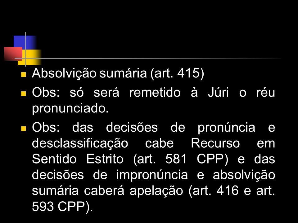 Absolvição sumária (art. 415)
