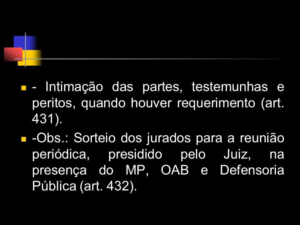 - Intimação das partes, testemunhas e peritos, quando houver requerimento (art. 431).