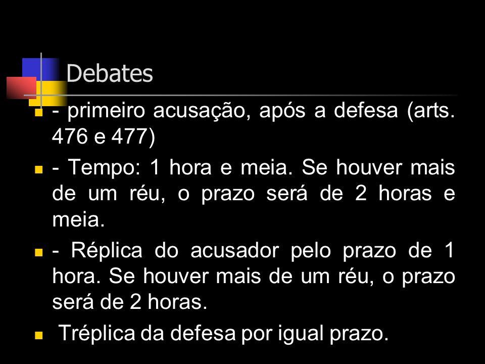 Debates - primeiro acusação, após a defesa (arts. 476 e 477)
