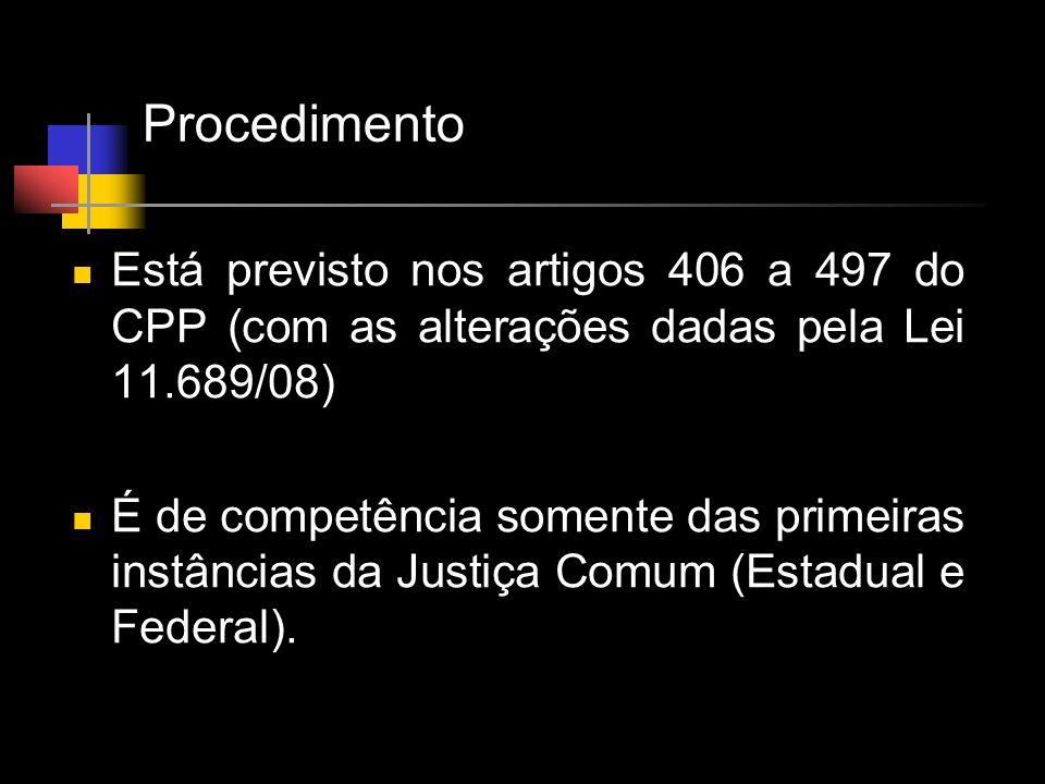 Procedimento Está previsto nos artigos 406 a 497 do CPP (com as alterações dadas pela Lei 11.689/08)