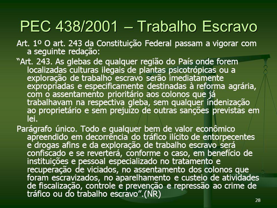 PEC 438/2001 – Trabalho Escravo