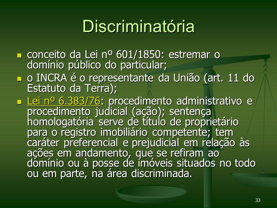 Discriminatóriaconceito da Lei nº 601/1850: estremar o domínio público do particular;