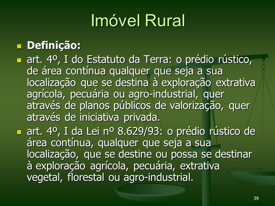 Imóvel Rural Definição: