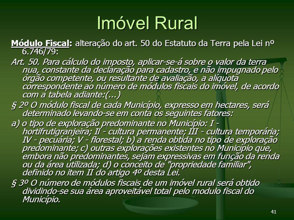 Imóvel RuralMódulo Fiscal: alteração do art. 50 do Estatuto da Terra pela Lei nº 6.746/79: