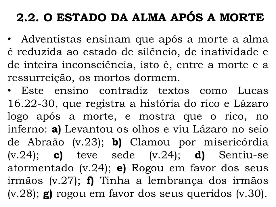 2.2. O ESTADO DA ALMA APÓS A MORTE