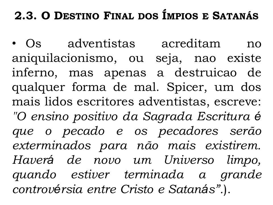 2.3. O Destino Final dos Ímpios e Satanás