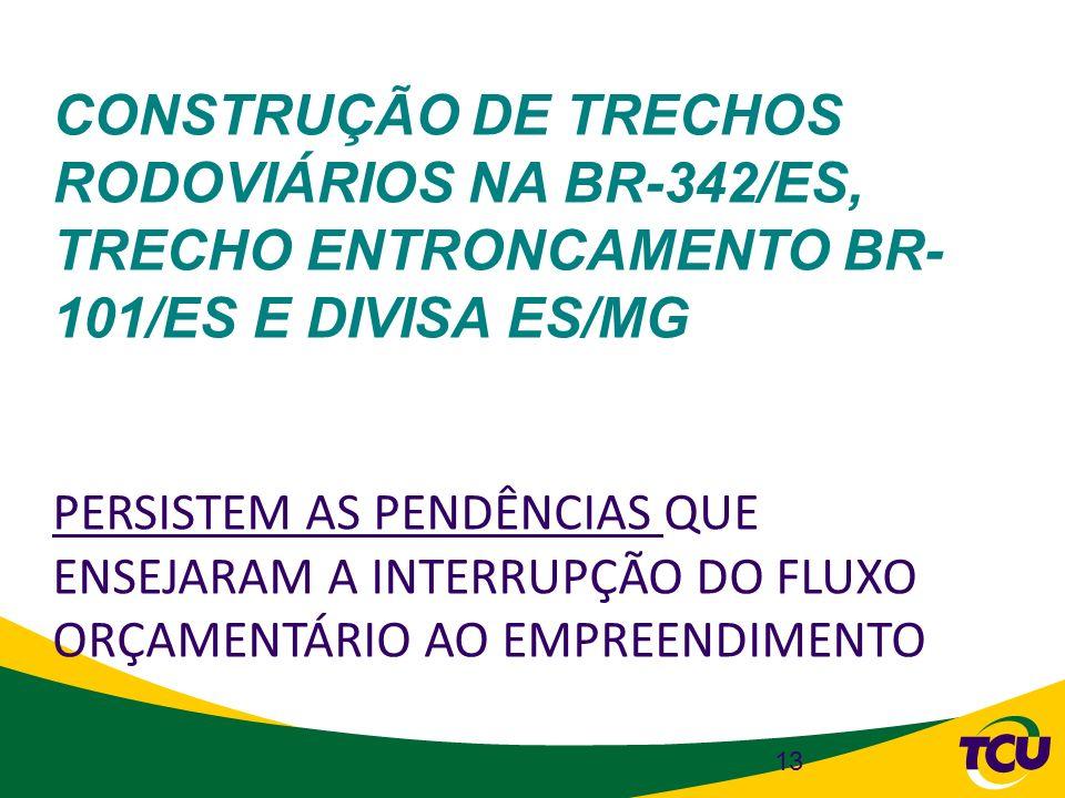 CONSTRUÇÃO DE TRECHOS RODOVIÁRIOS NA BR-342/ES, TRECHO ENTRONCAMENTO BR- 101/ES E DIVISA ES/MG