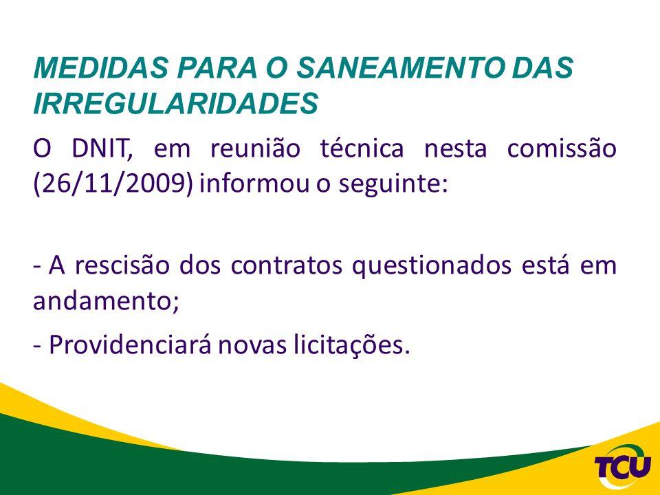 MEDIDAS PARA O SANEAMENTO DAS IRREGULARIDADES