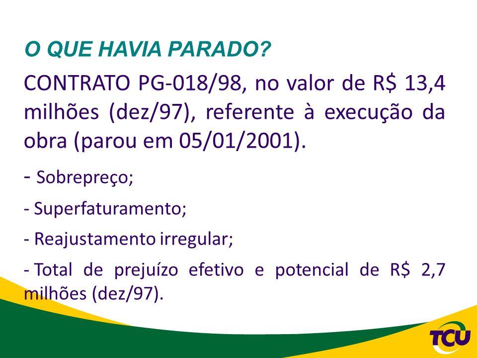 O QUE HAVIA PARADO CONTRATO PG-018/98, no valor de R$ 13,4 milhões (dez/97), referente à execução da obra (parou em 05/01/2001).