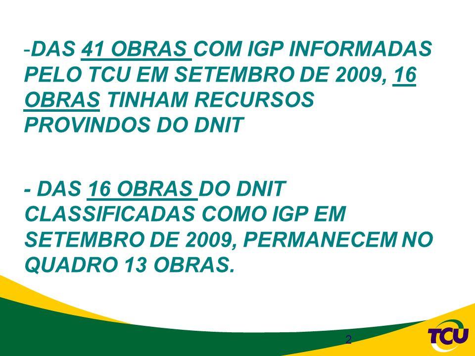 DAS 41 OBRAS COM IGP INFORMADAS PELO TCU EM SETEMBRO DE 2009, 16 OBRAS TINHAM RECURSOS PROVINDOS DO DNIT