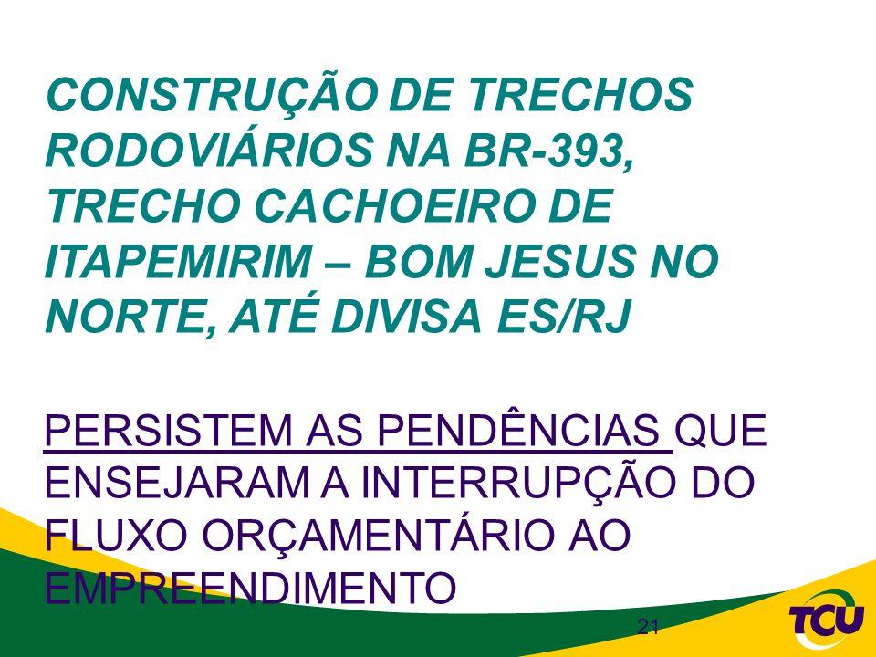 CONSTRUÇÃO DE TRECHOS RODOVIÁRIOS NA BR-393, TRECHO CACHOEIRO DE ITAPEMIRIM – BOM JESUS NO NORTE, ATÉ DIVISA ES/RJ