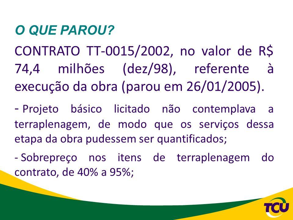 O QUE PAROU CONTRATO TT-0015/2002, no valor de R$ 74,4 milhões (dez/98), referente à execução da obra (parou em 26/01/2005).