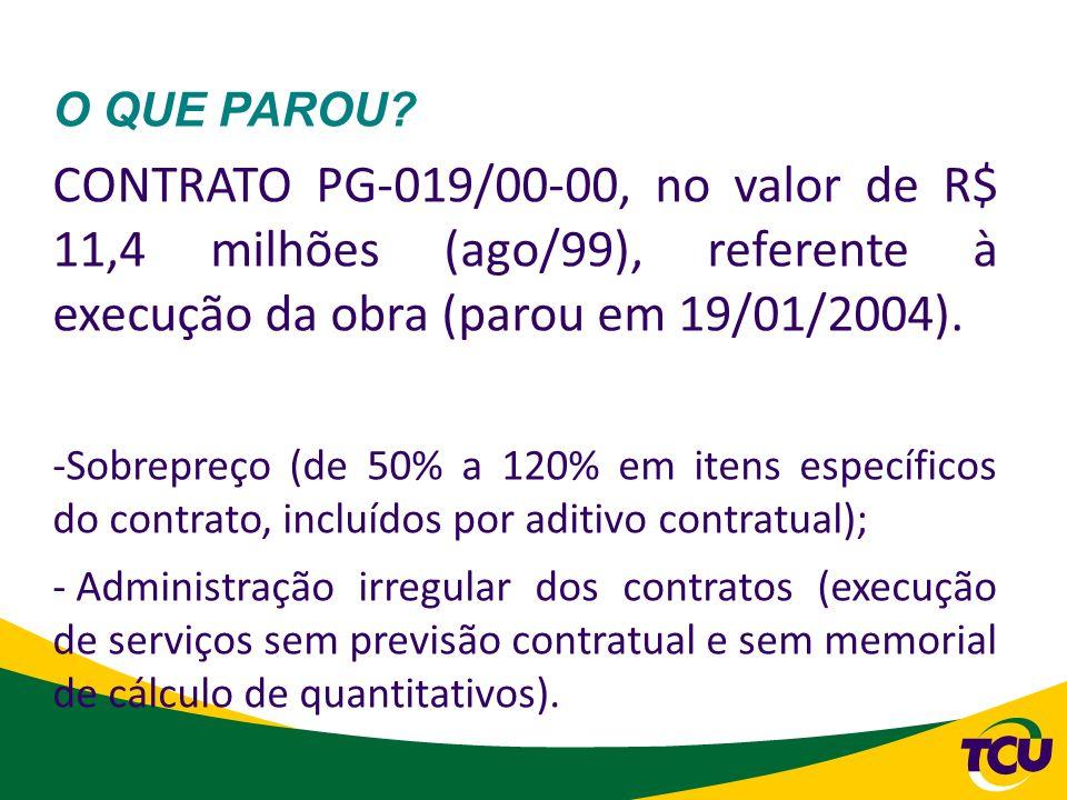 O QUE PAROU CONTRATO PG-019/00-00, no valor de R$ 11,4 milhões (ago/99), referente à execução da obra (parou em 19/01/2004).