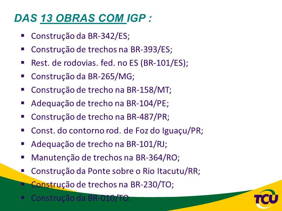 DAS 13 OBRAS COM IGP : Construção da BR-342/ES;