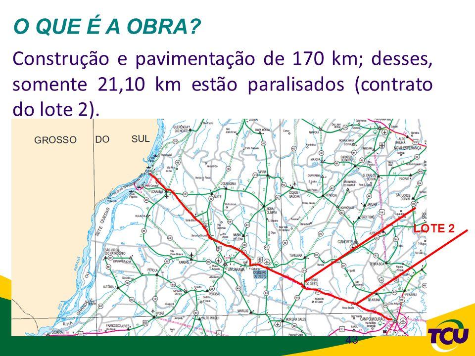 O QUE É A OBRA Construção e pavimentação de 170 km; desses, somente 21,10 km estão paralisados (contrato do lote 2).