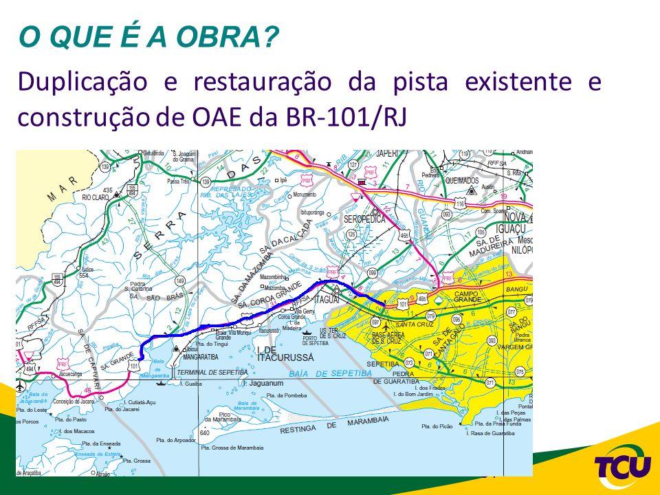 O QUE É A OBRA Duplicação e restauração da pista existente e construção de OAE da BR-101/RJ