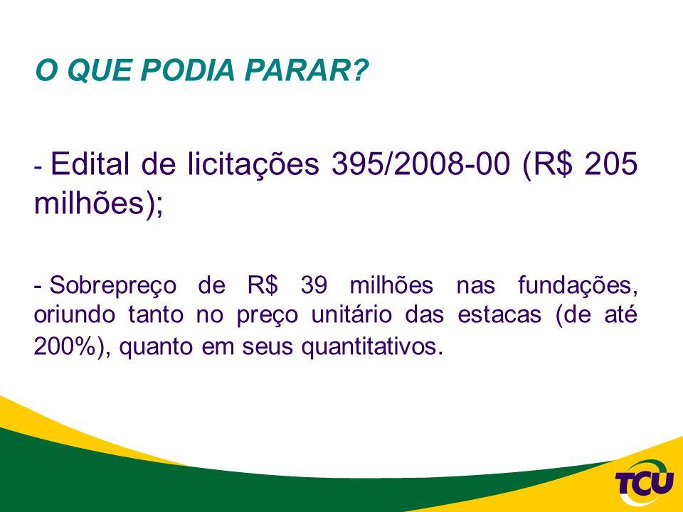 O QUE PODIA PARAR Edital de licitações 395/2008-00 (R$ 205 milhões);