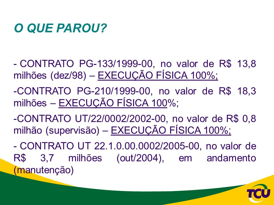 O QUE PAROU CONTRATO PG-133/1999-00, no valor de R$ 13,8 milhões (dez/98) – EXECUÇÃO FÍSICA 100%;