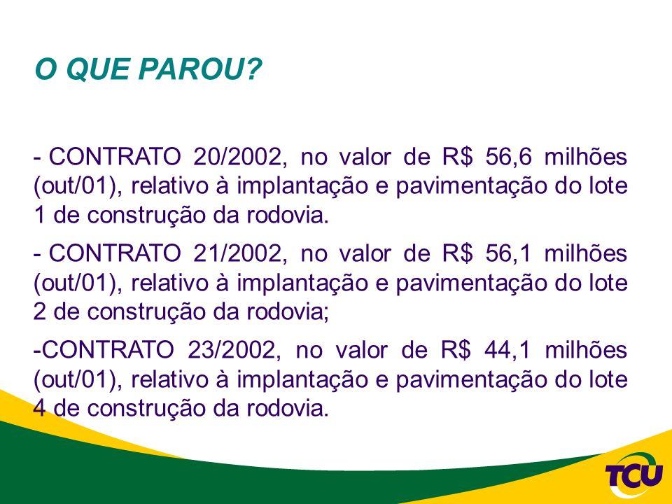 O QUE PAROU CONTRATO 20/2002, no valor de R$ 56,6 milhões (out/01), relativo à implantação e pavimentação do lote 1 de construção da rodovia.