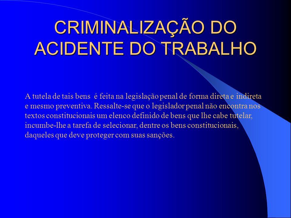 CRIMINALIZAÇÃO DO ACIDENTE DO TRABALHO