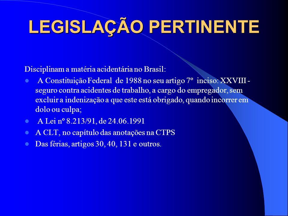 LEGISLAÇÃO PERTINENTE
