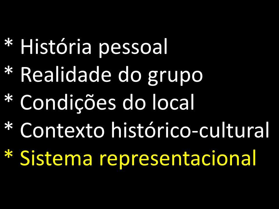 História pessoal. Realidade do grupo. Condições do local