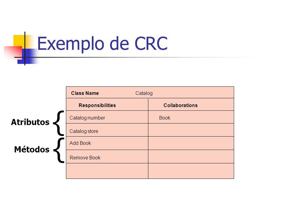 { { Exemplo de CRC Atributos Métodos Class Name Catalog