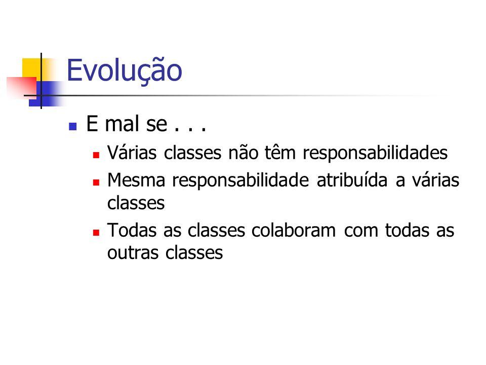 Evolução E mal se . . . Várias classes não têm responsabilidades