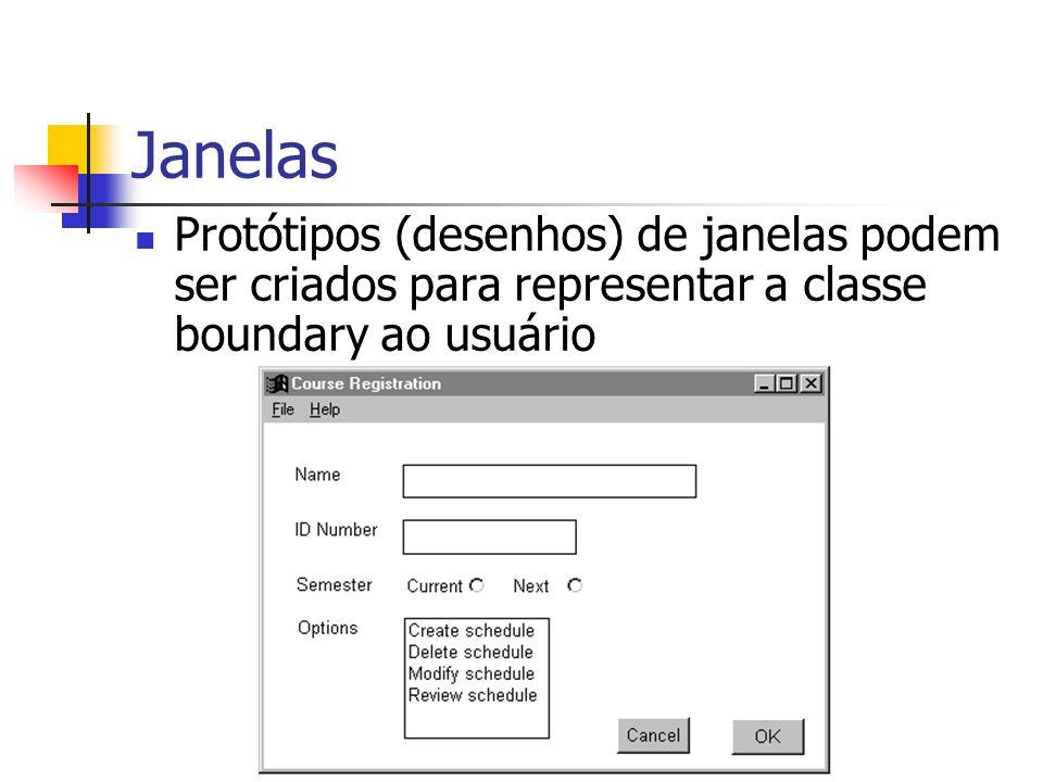 Janelas Protótipos (desenhos) de janelas podem ser criados para representar a classe boundary ao usuário.