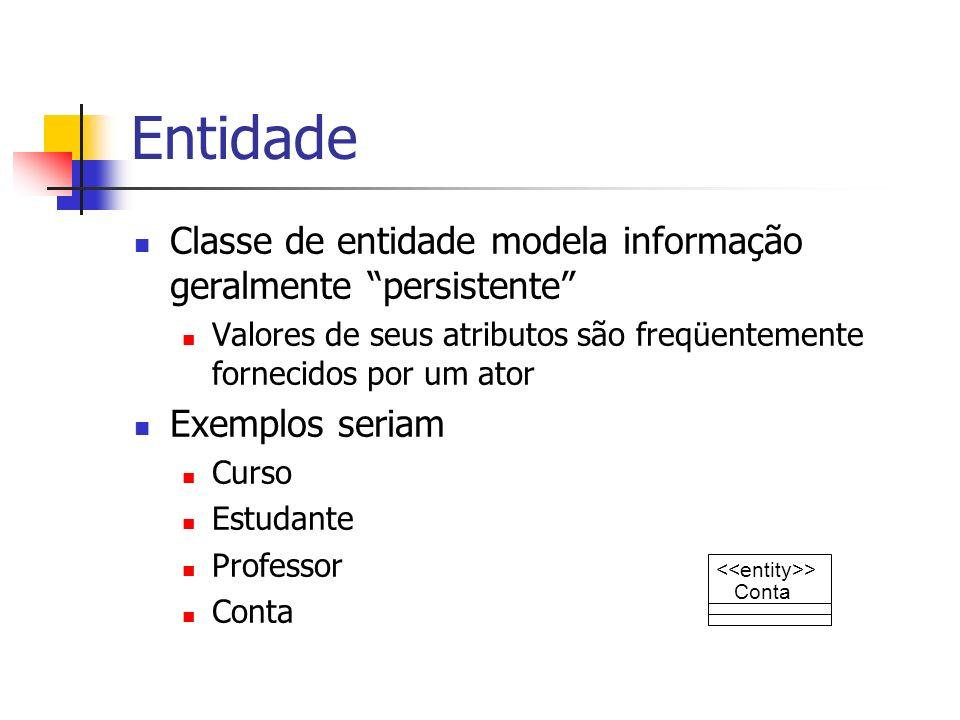 Entidade Classe de entidade modela informação geralmente persistente