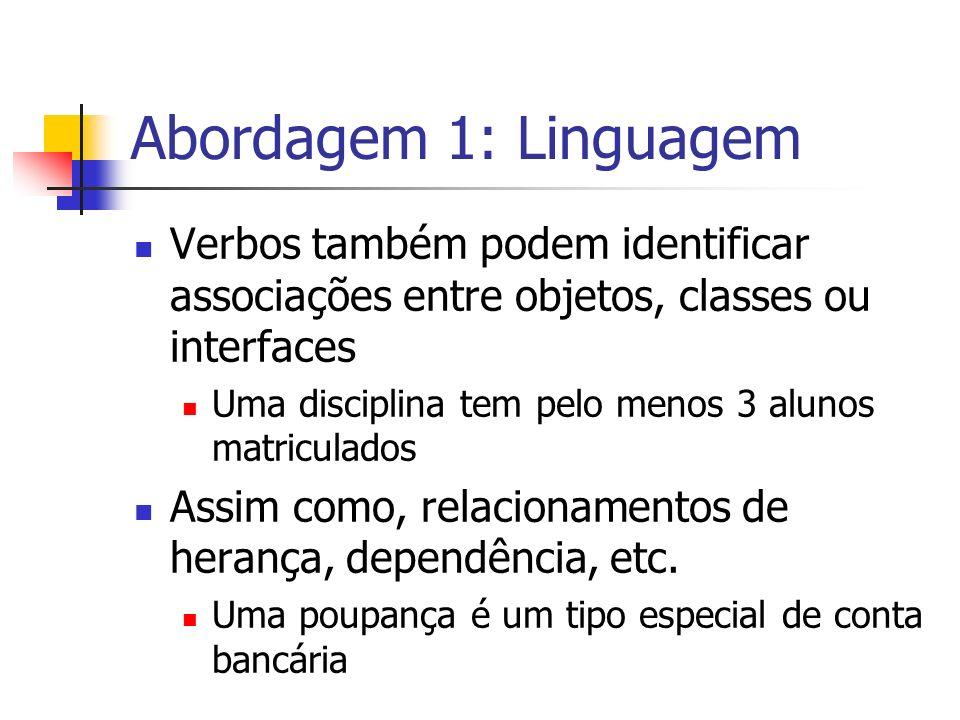 Abordagem 1: Linguagem Verbos também podem identificar associações entre objetos, classes ou interfaces.