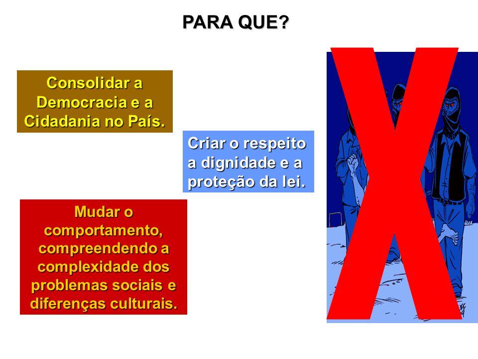 Consolidar a Democracia e a Cidadania no País.