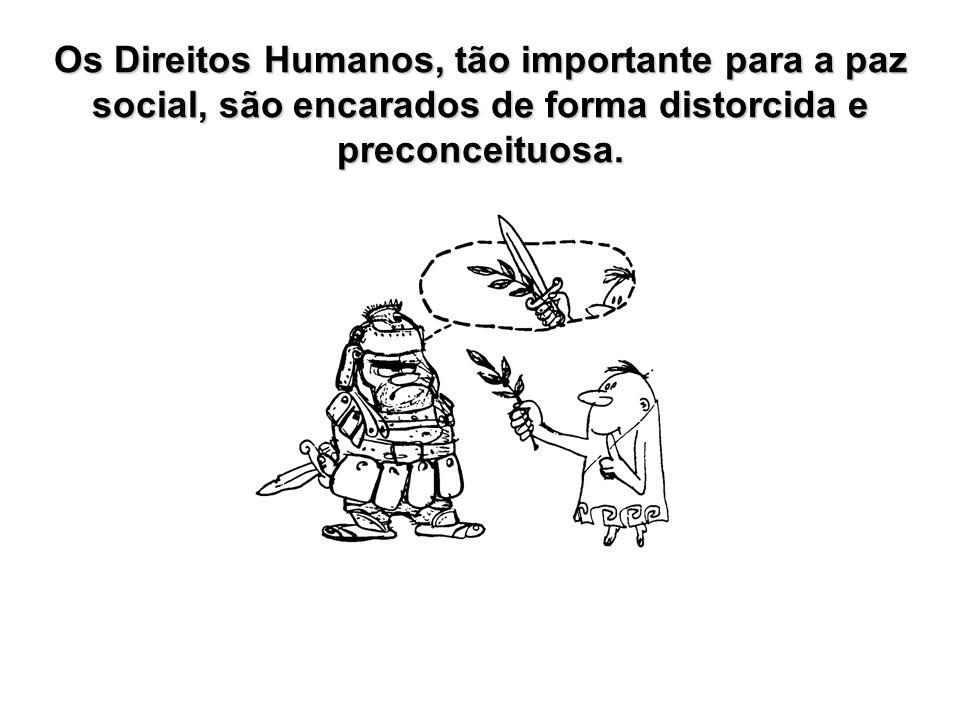 Os Direitos Humanos, tão importante para a paz social, são encarados de forma distorcida e preconceituosa.