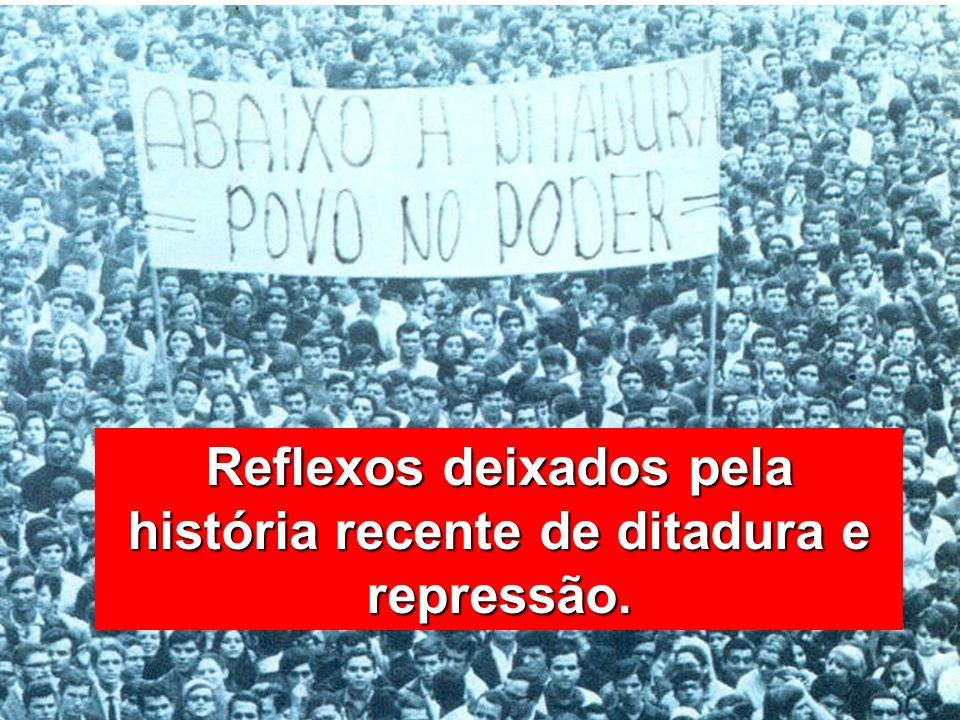 Reflexos deixados pela história recente de ditadura e repressão.