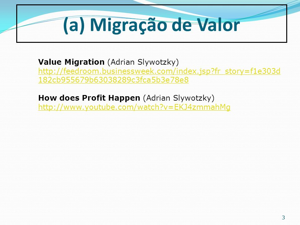 (a) Migração de Valor Value Migration (Adrian Slywotzky)