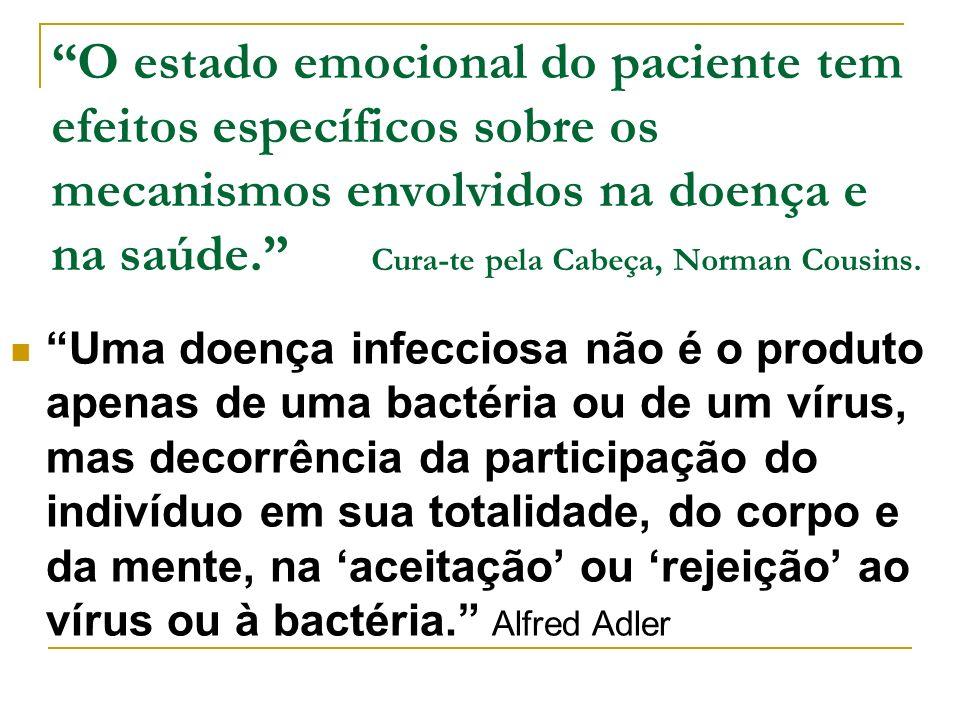 O estado emocional do paciente tem efeitos específicos sobre os mecanismos envolvidos na doença e na saúde. Cura-te pela Cabeça, Norman Cousins.
