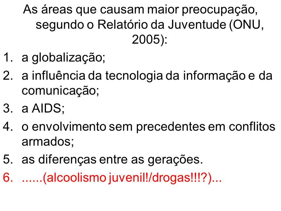 As áreas que causam maior preocupação, segundo o Relatório da Juventude (ONU, 2005):