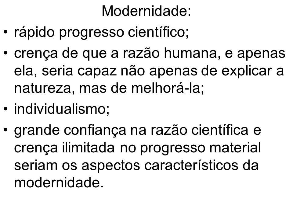 Modernidade: rápido progresso científico;