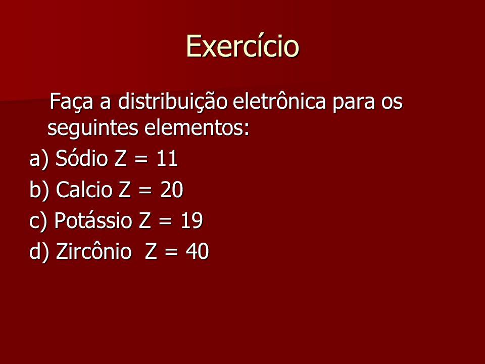 Exercício Faça a distribuição eletrônica para os seguintes elementos: