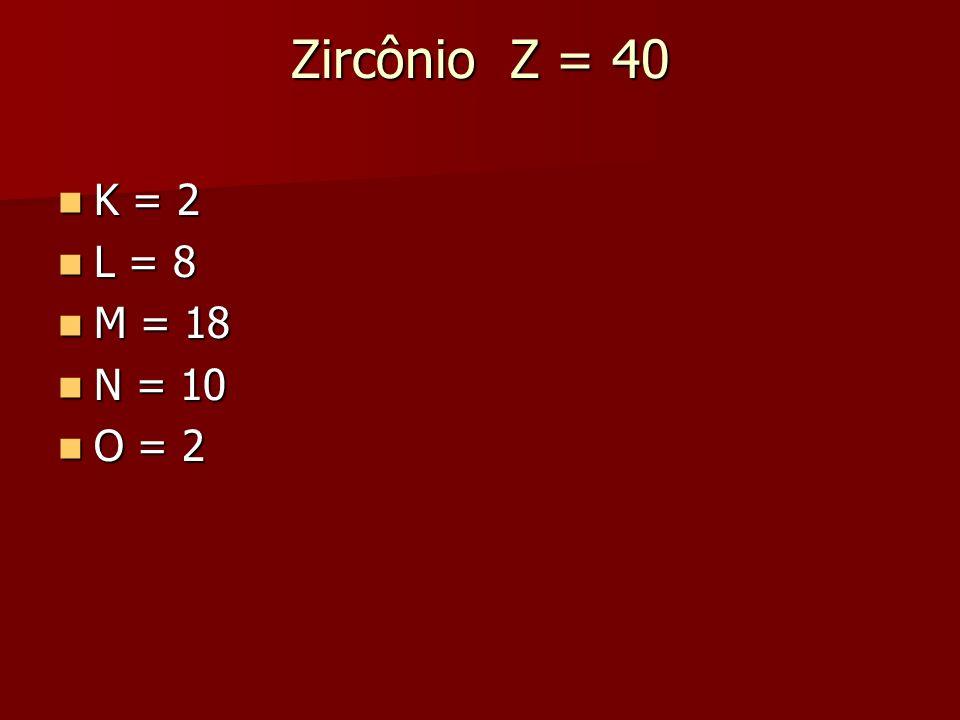 Zircônio Z = 40 K = 2 L = 8 M = 18 N = 10 O = 2