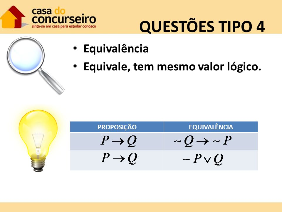 QUESTÕES TIPO 4 Equivalência Equivale, tem mesmo valor lógico.